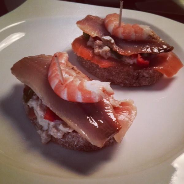 pintxo salmón langostino